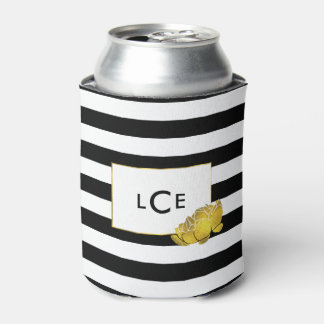 Black Stripe & Gold Peony Monogram Can Cooler