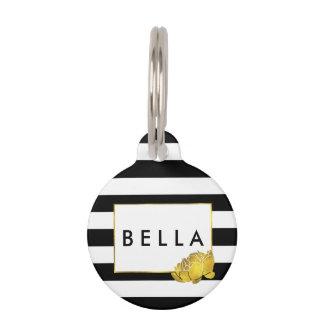 Black Stripe & Gold Peony Personalized Pet ID Tag