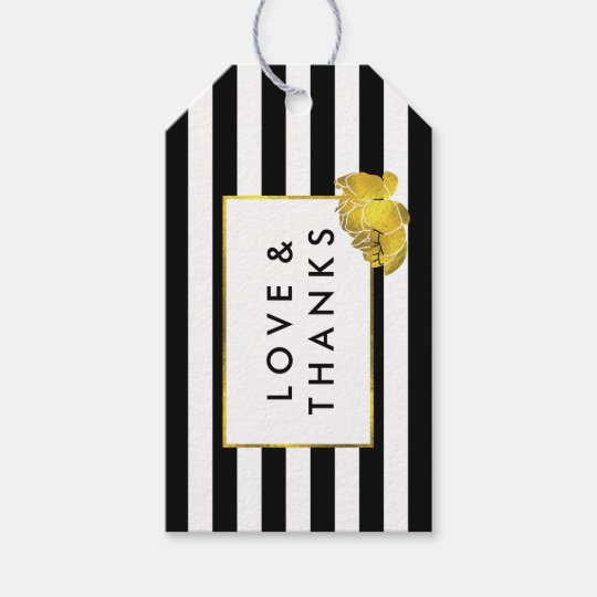 Black Stripe & Gold Peony Wedding Favour Tags
