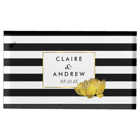 Black Stripe Gold Peony Wedding Table Card Stand