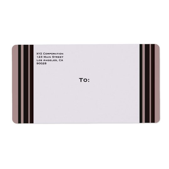 black stripe on purple business shipping label