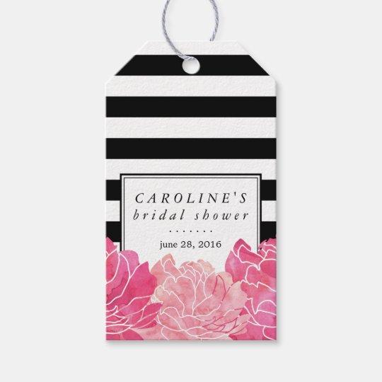 Black Stripe & Pink Peony Bridal Shower