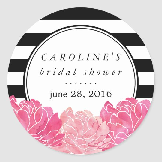 Black Stripe & Pink Peony Bridal Shower Classic