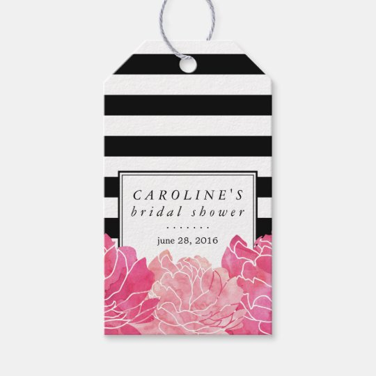 Black Stripe & Pink Peony Bridal Shower Gift
