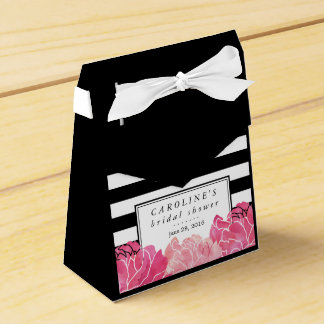 Black Stripe & Pink Peony Bridal Shower Party Favour Box