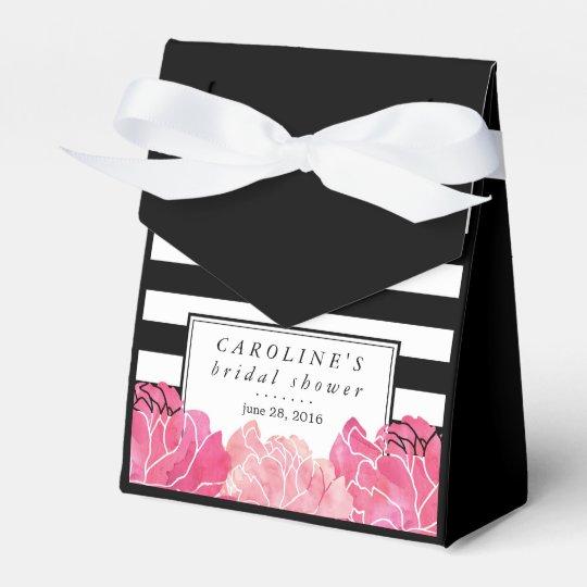 Black Stripe & Pink Peony Bridal Shower Party