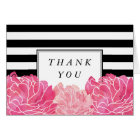 Black Stripe & Pink Peony Thank You Card
