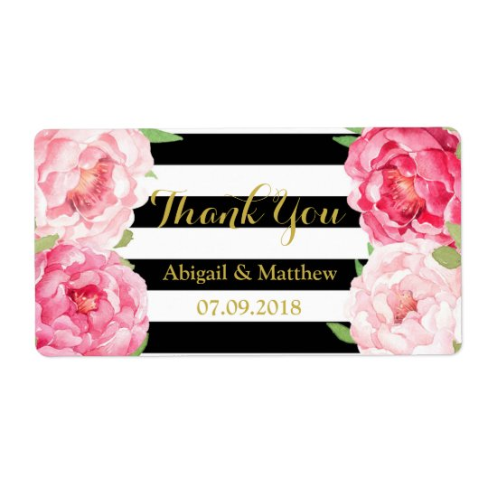 Black Stripe Pink Watercolor Floral Wedding Labels
