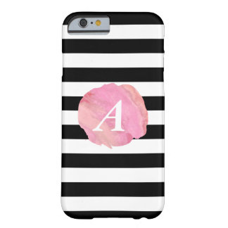 Black Stripe & Pink Watercolor Initial Monogram Barely There iPhone 6 Case