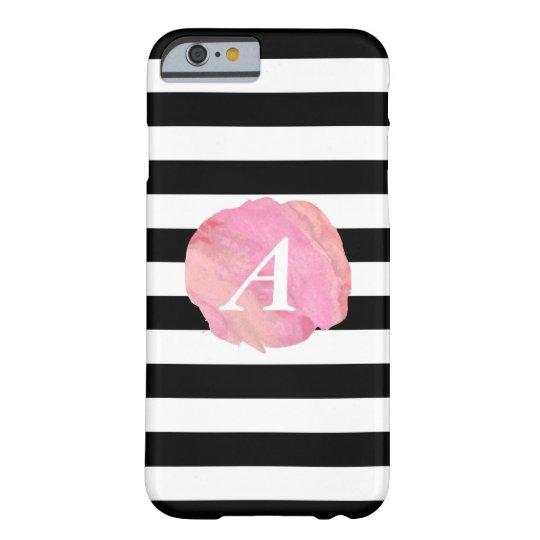 Black Stripe & Pink Watercolor Initial Monogram Barely