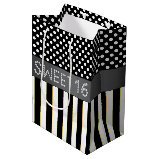 Black Stripe/Polka Dot Diamond Sweet 16 Gift Bag