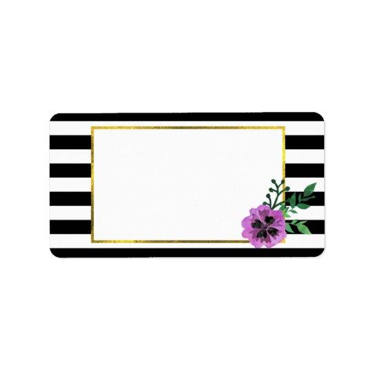 Black Stripe & Purple Pansy Address Labels