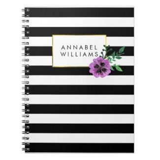 Black Stripe & Purple Pansy Notebook