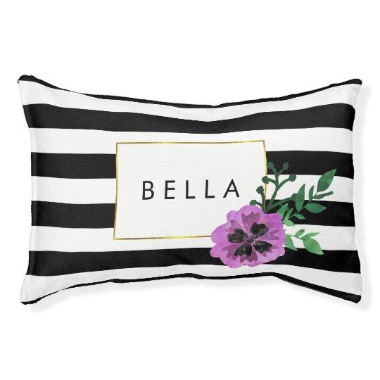 Black Stripe & Purple Pansy Personalised Dog Bed