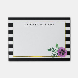 Black Stripe & Purple Pansy Post-it Notes