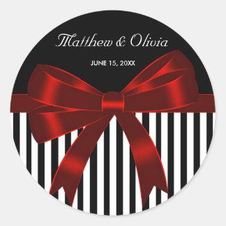 Black Stripe Red Bow Wedding Round Sticker
