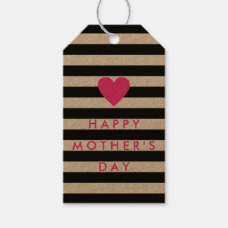 Black Stripe with Pink Heart 'Happy Mother's Day'