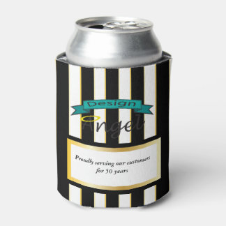 Black Striped Custom Business Logo Can Coolers