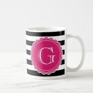 Black Striped Pattern Hot Pink Monogram Basic White Mug