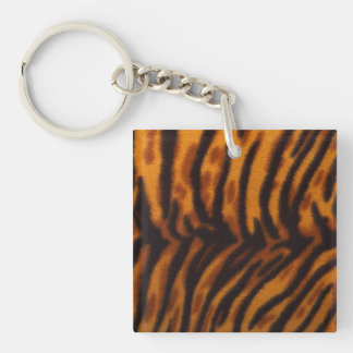 Black Striped Tiger fur or Skin Texture Template Double-Sided Square Acrylic Key Ring