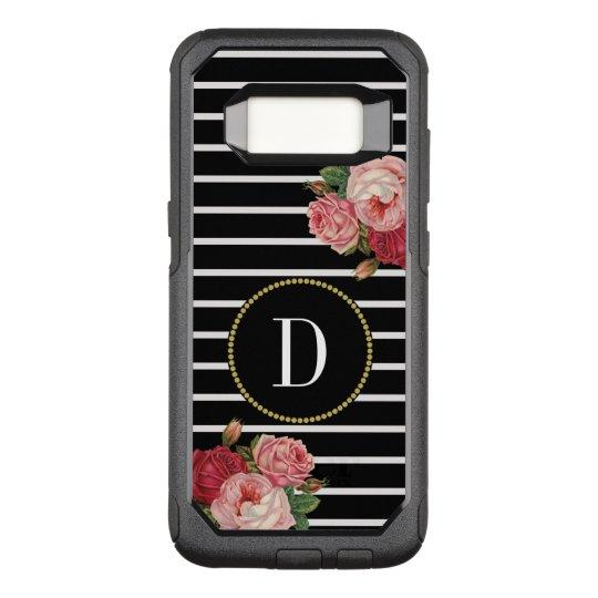 Black Striped Vintage Flowers Classy Gold Monogram OtterBox Commuter Samsung Galaxy S8 Case