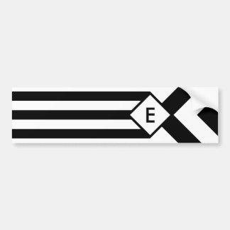 Black Stripes and Chevrons with Monogram on White Bumper Sticker