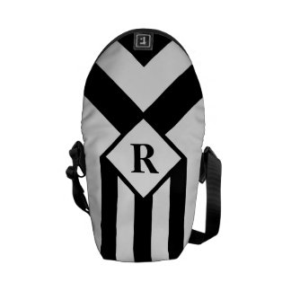 Black Stripes and Chevrons with Monogram on White Courier Bags