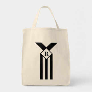 Black Stripes and Chevrons with Monogram on White Grocery Tote Bag