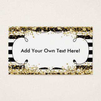 Black Stripes and Gold Glitter Business Card