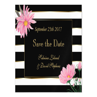 Black Stripes and Pink Chrysanthemum Save the Date Magnetic Card