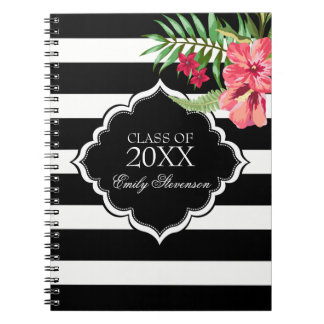 Black Stripes And Pink Hibiscus-Graduations Notebook