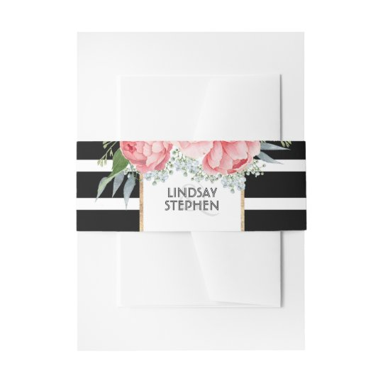 Black Stripes and Pink Peonies Modern Wedding Invitation