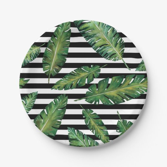 Black stripes banana leaf tropical summer pattern paper