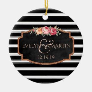 Black Stripes Chalkboard Monogram Wedding Date Christmas Ornament