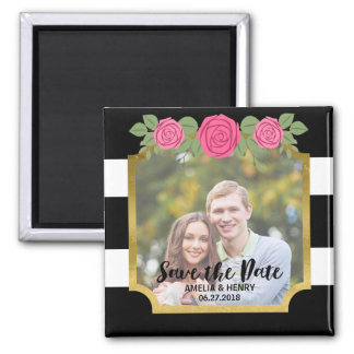 Black Stripes Faux Gold Floral Save the Date Photo Square Magnet