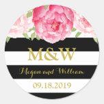 Black Stripes Floral Monogram Wedding Favour Tag Round Sticker