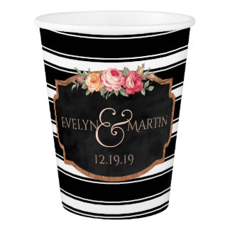 Black Stripes Floral Rose Gold Chalkboard Wedding Paper Cup