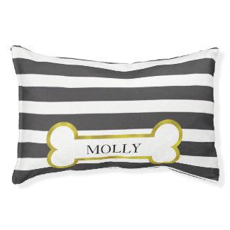 Black Stripes & Gold Bone Personalized Dog Bed