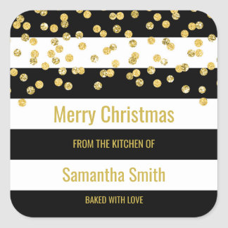 Black Stripes Gold Confetti Christmas Baking Square Sticker