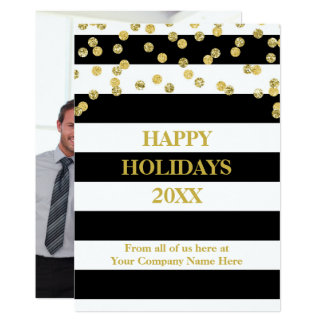 Black Stripes Gold Confetti Christmas Business Card
