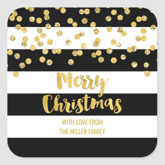 Black Stripes Gold Confetti Merry Christmas Custom Square Sticker