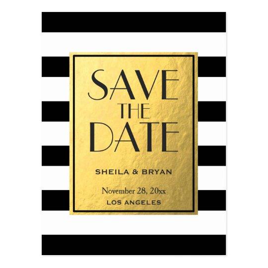 Black Stripes Gold Foil Save The Date Post