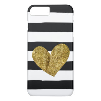 Black Stripes Gold Heart iPhone 8 Plus/7 Plus Case
