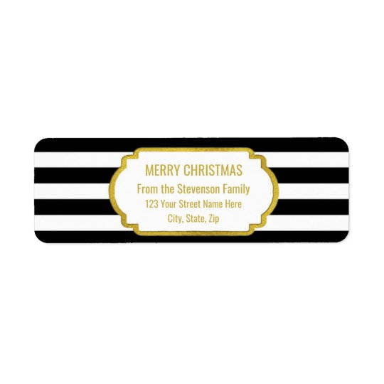 Black Stripes Gold Merry Christmas