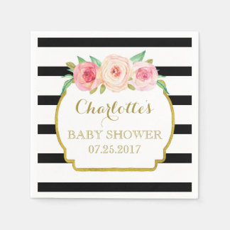 Black Stripes Gold Pink Floral Baby Shower Disposable Napkin