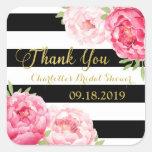 Black Stripes Gold Pink Floral Bridal Shower Square Sticker