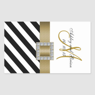 Black Stripes Gold Ribbon Initial Wedding Wine Rectangle Stickers