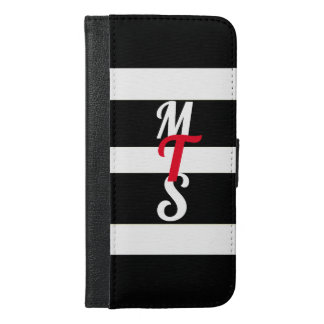 Black Stripes Monogram Apple iPhone 6/6s Wallet