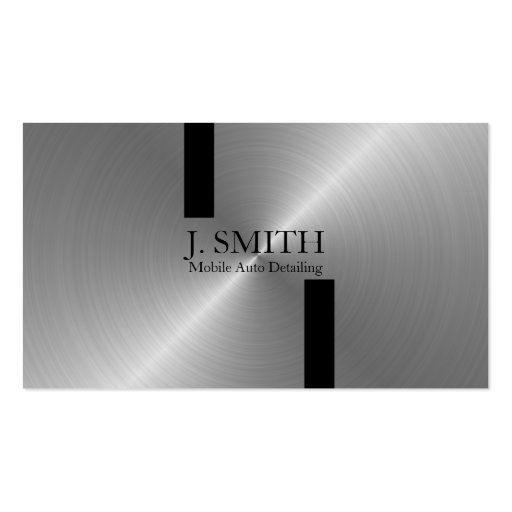 Black Stripes on Silver Auto Detailing Business Cards