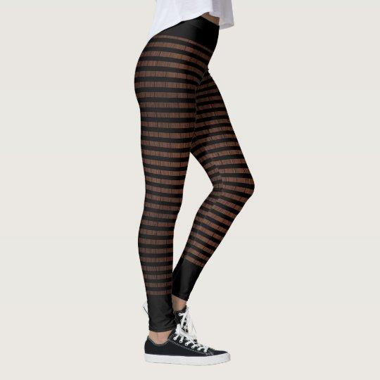 Black stripes on wood pattern designer leggings
